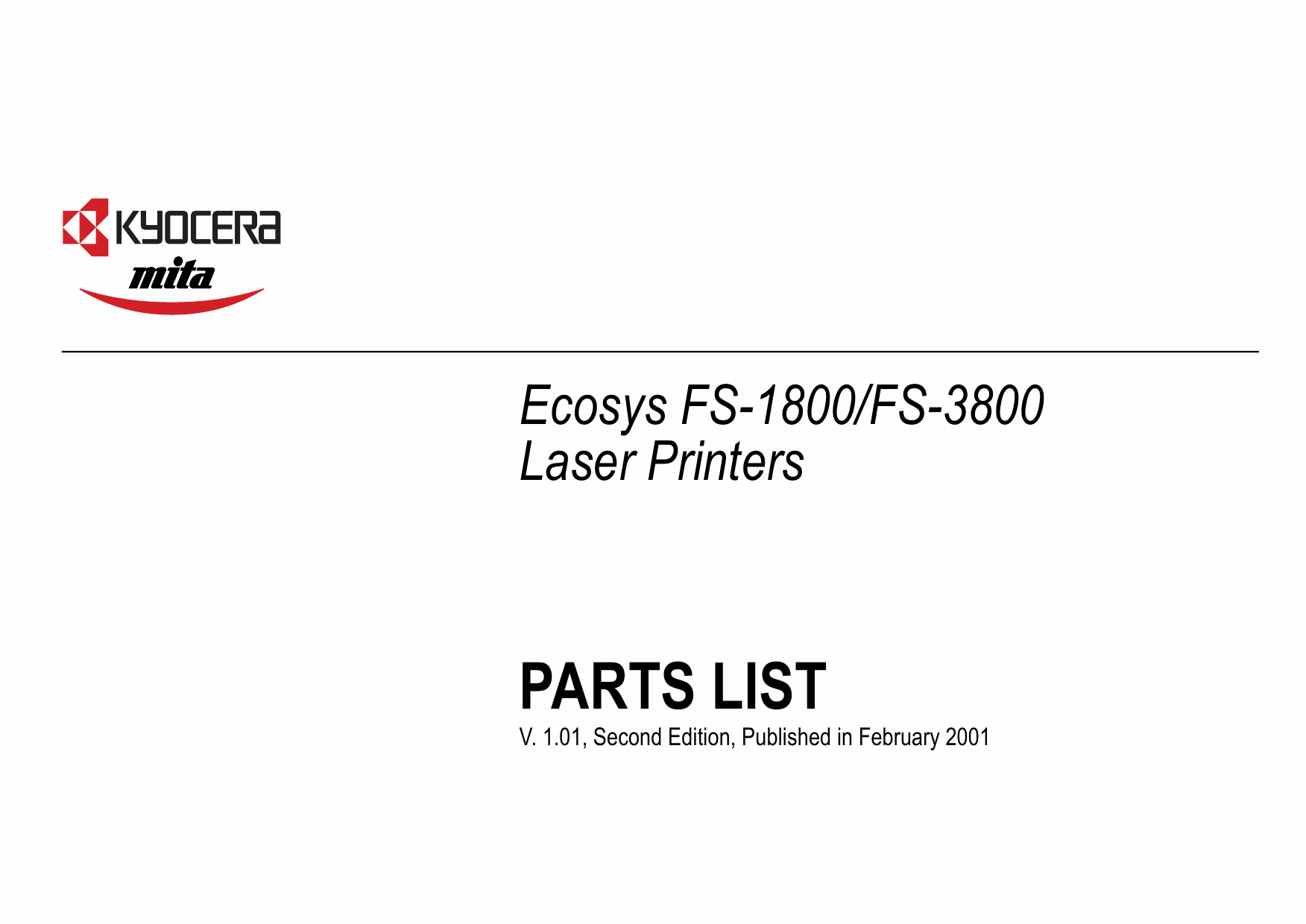 KYOCERA LaserPrinter FS-1800 3800 Parts Manual-1